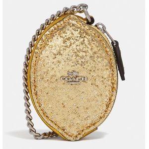 Coach Lemon Glitter Coin Case Wristlet